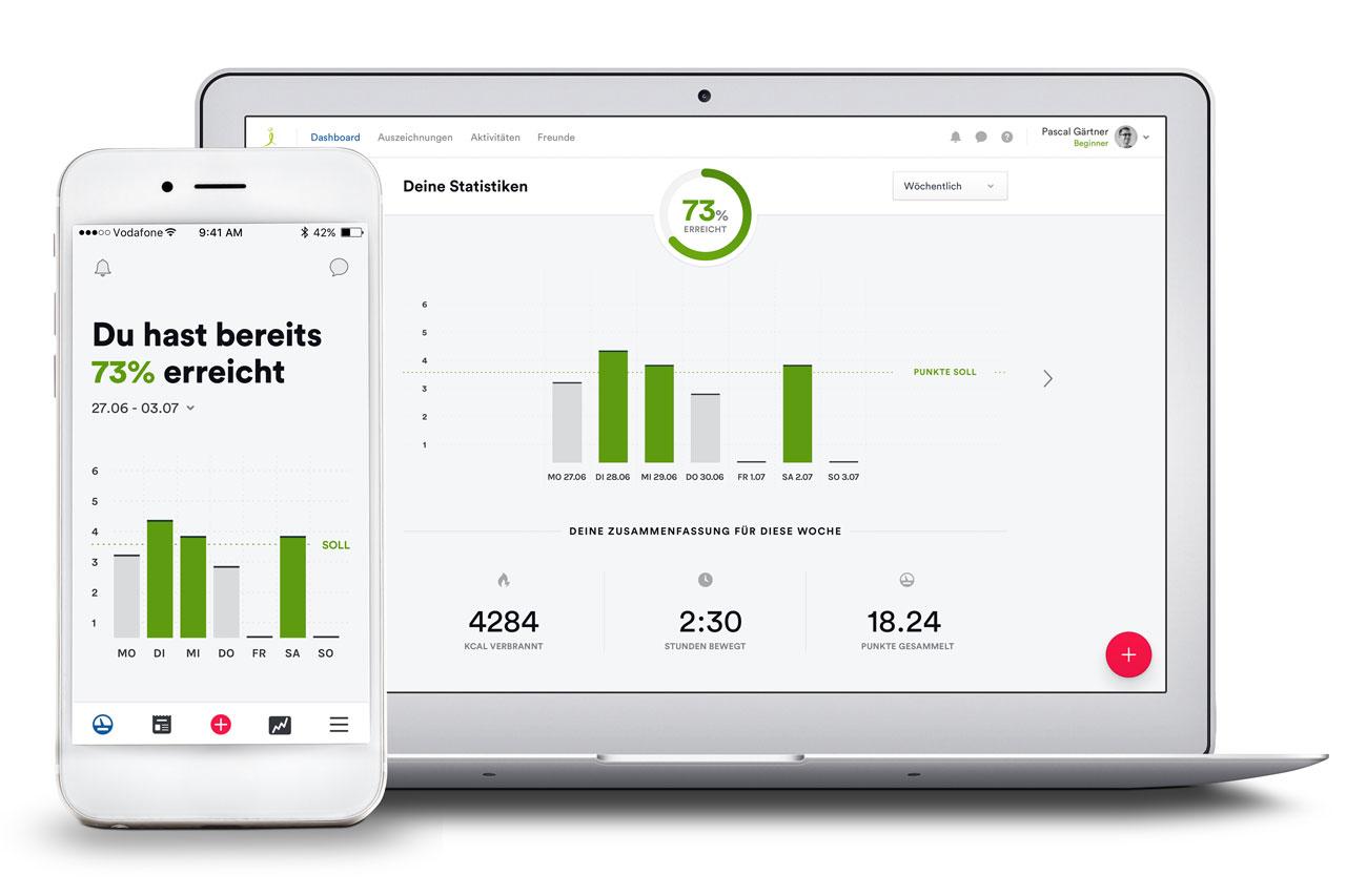Ansicht der movival App-Oberfläche auf dem PC und dem Smartphone